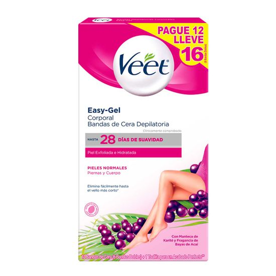 Bandas de cera depilatoria Veet piel normal pague 12 lleve 16